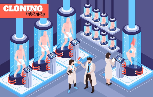 Futurystyczna ilustracja laboratorium klonowania ludzi z mężczyznami, kobietami i istotami dziecięcymi rosnącymi w szklanych kapsułkach z płynem