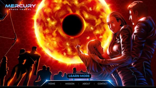 Futurystyczna ilustracja strony docelowej turystyki kosmicznej na planecie rtęciowej z rodziną i innymi turystami w pokoju obserwacyjnym na statku kosmicznym