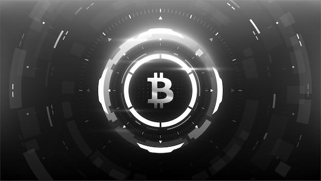 Futurystyczna ilustracja wektorowa kryptowaluty bitcoin na tle, hud, graficzny interfejs użytkownika, baner, infografiki biznesowe i finansowe i nie tylko