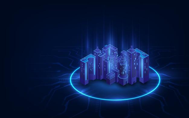 Futurystyczna infrastruktura inteligentnego miasta nocnego. mieszkaniowe budynki miejskie dla płaskiej konstrukcji izometrycznej innowacji. inteligentne miasto