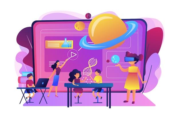 Futurystyczna klasa, małe dzieci uczą się z zaawansowanym technologicznie sprzętem. inteligentne przestrzenie w szkole, sztuczna inteligencja w edukacji, koncepcja systemu zarządzania nauką.