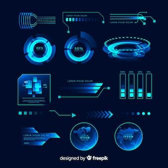 Futurystyczna kolekcja elementów holograficznych infografiki