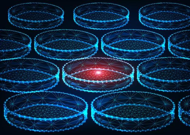Futurystyczna koncepcja badań medycyny ze świecącymi niskimi wielokątnymi laboratoryjnymi płytkami petriego na ciemnym niebieskim tle.
