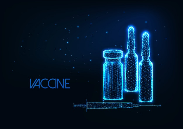 Futurystyczna koncepcja badań nad szczepionkami ze świecącymi niskimi wielokątnymi ampułkami, strzykawka na ciemnoniebieskim.
