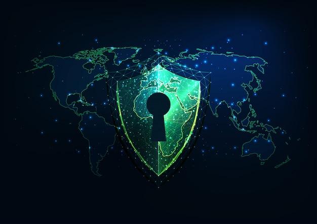 Futurystyczna koncepcja bezpieczeństwa cybernetycznego ze świecącą niską wielokątną tarczą z dostępem i mapą świata.