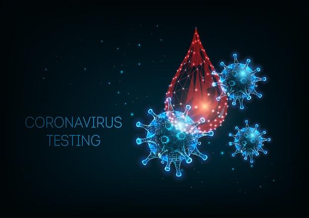 Futurystyczna koncepcja diagnostyki koronawirusa covid-19 ze świecącymi komórkami wirusa niskiego poli i badaniem krwi