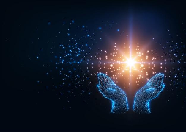 Futurystyczna koncepcja energii uzdrawiającej ze świecącymi ludzkimi rękami low poly trzymającymi magiczną gwiazdę musującą