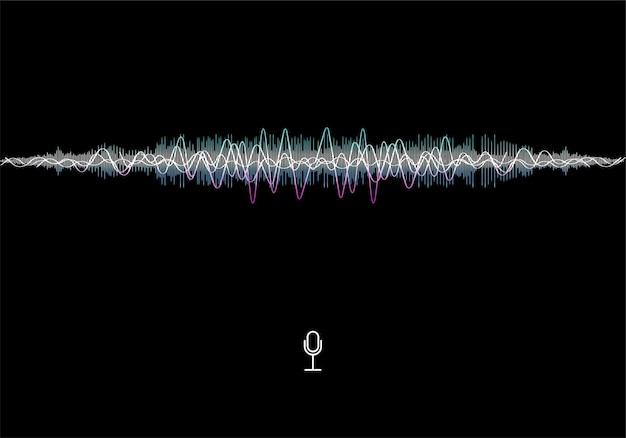 Futurystyczna koncepcja fali dźwiękowej. futurystyczny kształt fali dźwiękowej i fali muzycznej. zaawansowana technologia ai. sterowanie głosowe mikrofonem. wektor asystent głosowy ai i rozpoznawanie dźwięku korektora.