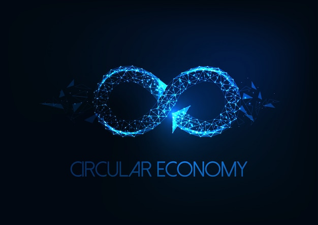 Futurystyczna koncepcja gospodarki o obiegu zamkniętym ze świecącym znakiem niskiej nieskończoności wielokąta na ciemnym niebieskim tle