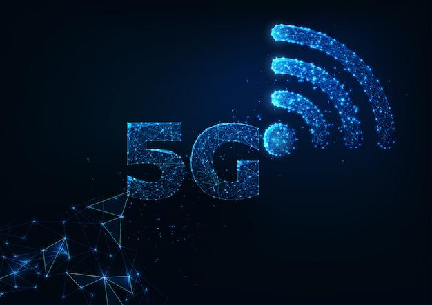 Futurystyczna Koncepcja Innowacyjnych Technologii Bezprzewodowego Połączenia Internetowego 5g Premium Wektorów