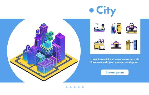 Futurystyczna koncepcja inteligentnego miasta. izometryczne neony nowoczesne budynki, wieżowce, centrum biznesowe, ruch drogowy.
