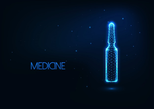 Futurystyczna koncepcja leczenia ze świecącą ampułką o niskiej zawartości poli z płynnymi lekami