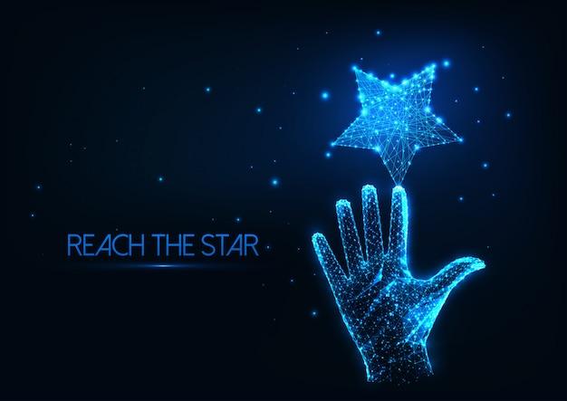 Futurystyczna koncepcja marzeń ze świecącą niską wielokątną ludzką ręką sięgającą gwiazdy