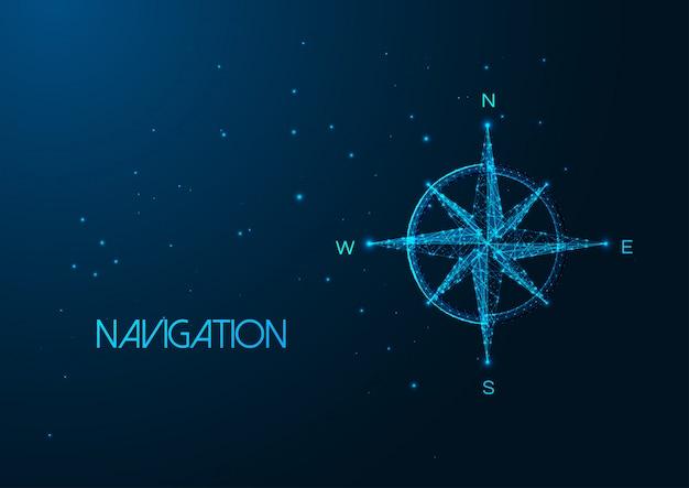 Futurystyczna koncepcja nawigacji ze świecącą niską wielokątną różą kompasu