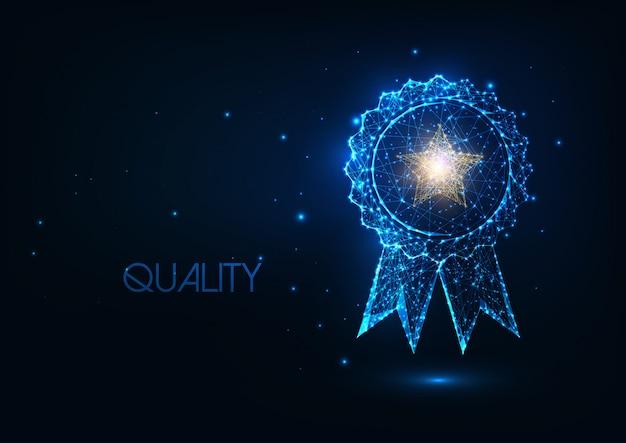 Futurystyczna koncepcja odznaki najlepszej jakości ze świecącym wielobocznym medalem zwycięzcy i złotą gwiazdą