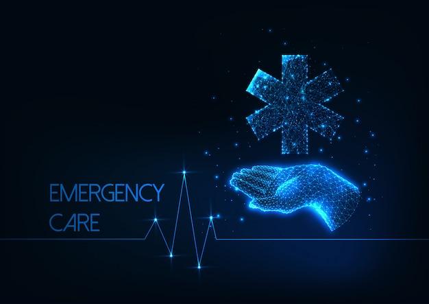Futurystyczna koncepcja opieki w nagłych wypadkach z niskiej wielokąta ludzką ręką trzyma medyczną gwiazdę życia symbol