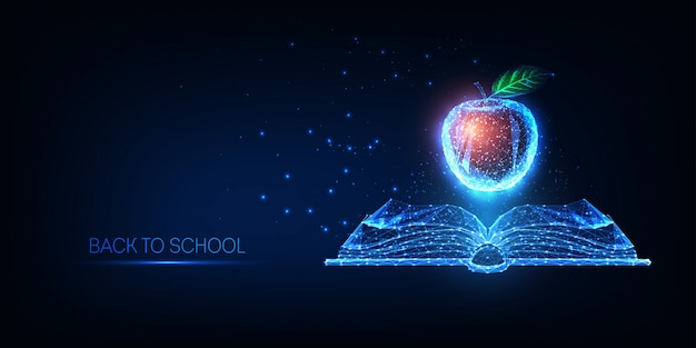 Futurystyczna koncepcja powrotu do szkoły ze świecącą niską wielokątną otwartą książką i czerwonym jabłkiem