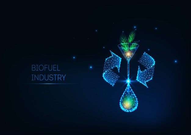 Futurystyczna koncepcja przemysłu biopaliw ze świecącymi zielonymi liśćmi o niskiej wielokącie