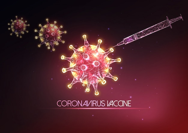 Futurystyczna koncepcja szczepionki koronawirusa covid-19 ze świecącymi strzykawkami o niskiej poli i cząsteczkami wirusa