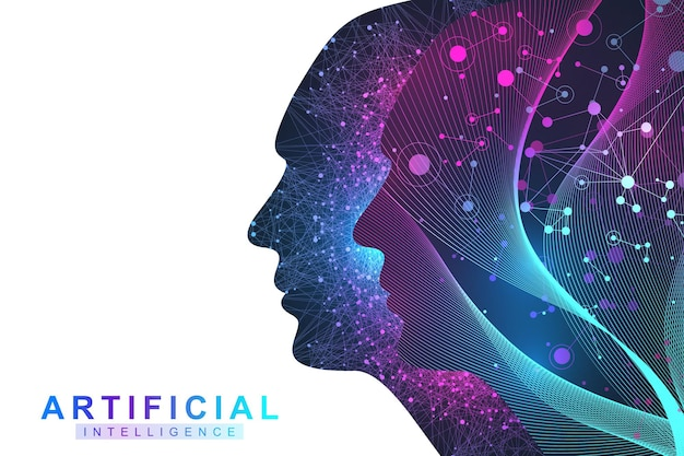 Futurystyczna koncepcja sztucznej inteligencji i uczenia maszynowego. wizualizacja big data człowieka. komunikacja przepływu fal, naukowa ilustracja wektorowa.