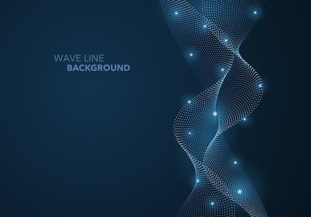 Futurystyczna linia gradientu kropek streszczenie fala i podświetlane tło szablonu kuli świetlnej.