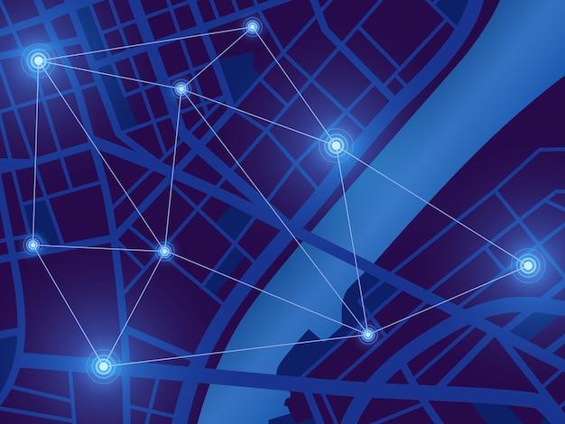 Futurystyczna mapa miasta. monitor lokalizacji gps. widok z góry cyfrowe miasto nocą. tło technologii nawigacji