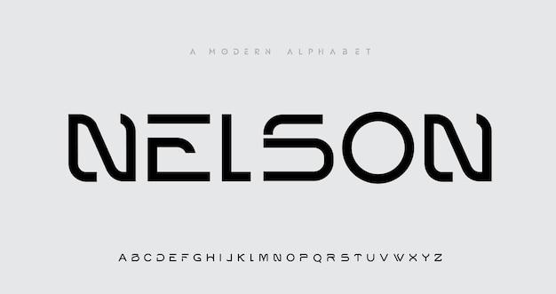 Futurystyczna nowoczesna technologia. nowoczesne czcionki alfabetu