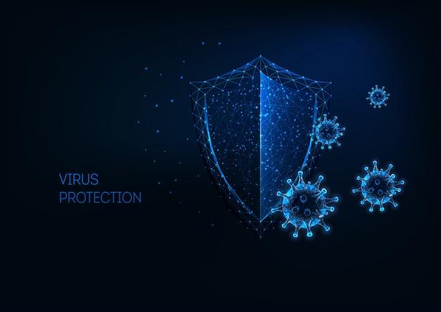 Futurystyczna ochrona przed wirusami ze świecącą niską wielokątną tarczą i komórkami wirusa.