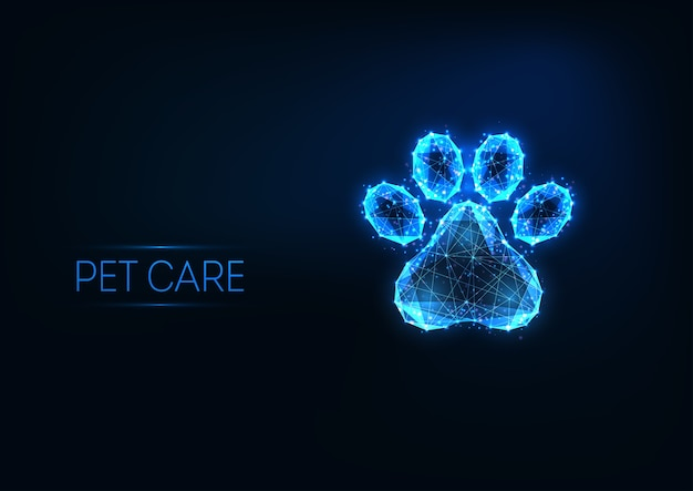Futurystyczna opieka nad zwierzętami, klinika weterynaryjna, koncepcja logo usług pielęgnacyjnych ze świecącą niską wielokątną łapą zwierzęcia na ciemnoniebieskim tle. nowoczesna siatka szkieletowa