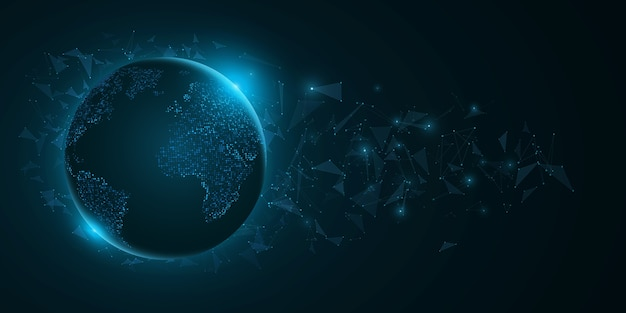 Futurystyczna planeta ziemia z elementami trójkąta na ciemnoniebieskim tle. mapa świata z kropkami z niebieskimi światłami.