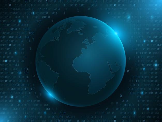Futurystyczna planeta ziemia z kodem binarnym na ciemnoniebieskim tle. mapa świata z niebieskimi światłami. zaawansowany technicznie projekt.