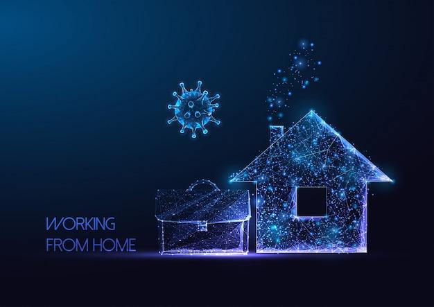 Futurystyczna praca z domu podczas koncepcji kwarantanny pandemicznej koronawirusa