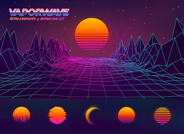 Futurystyczna retro krajobrazowa ilustracja i outrun słońca set
