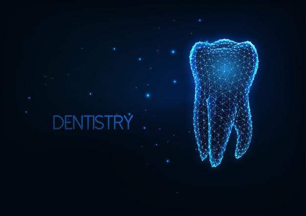 Futurystyczna stomatologia, koncepcja pielęgnacji zębów ze świecącym niskim wielokątnym ludzkim zębem trzonowym.