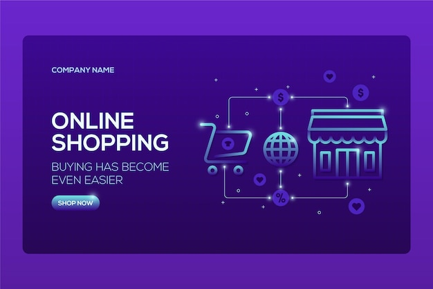 Futurystyczna strona docelowa zakupów online