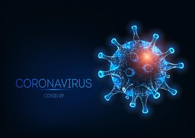 Futurystyczna świecąca niska wielokątna komórka koronawirusa covid-19 na białym tle na ciemnym niebieskim tle.