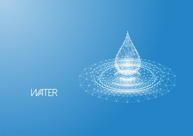 Futurystyczna świecąca niska wielokątna kropla wody z falami plusk wykonanymi z linii, kropek, cząstek światła odizolowanych na niebieskim tle. nowoczesna konstrukcja z siatki drucianej.
