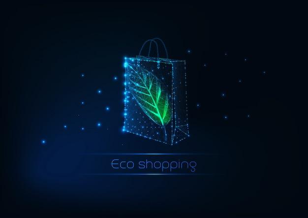 Futurystyczna świecąca niska wielokątna papierowa torba na zakupy z zielonym liściem. szablon eko zakupy.