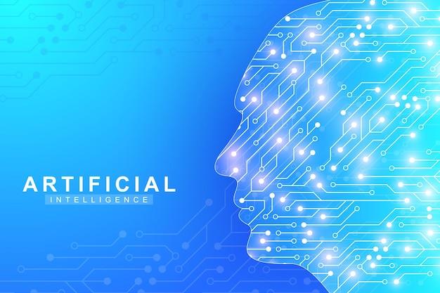Futurystyczna sztuczna inteligencja i koncepcja uczenia maszynowego. wizualizacja big data człowieka. komunikacja przepływu fal, naukowa ilustracja wektorowa.