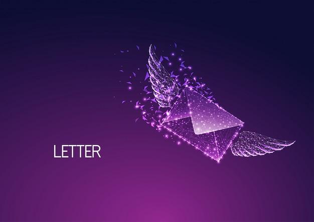 Futurystyczna szybka dostawa, koncepcja ekspresowej wysyłki ze świecącą niską wielokątną kopertą ze skrzydłami