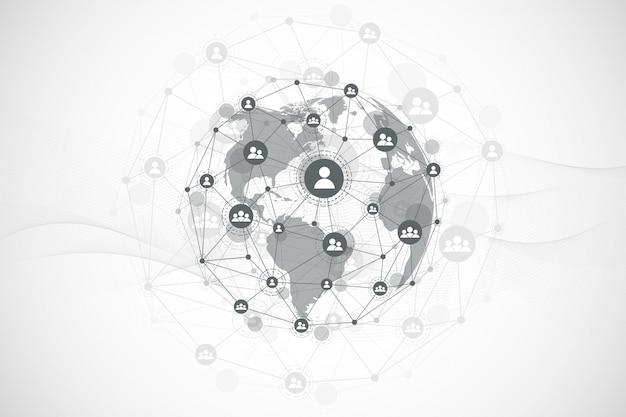 Futurystyczna technologia blockchain streszczenie tło. globalne połączenie z internetem. koncepcja biznesowa sieci peer to peer. globalny łańcuch bloków kryptowalut. przepływ fali