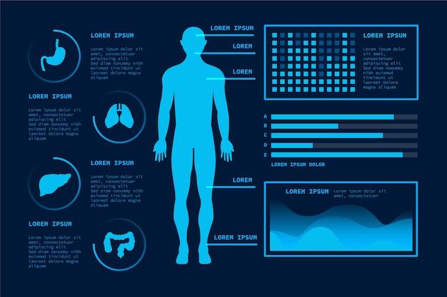 Futurystyczna technologia szablon medycznych infographic