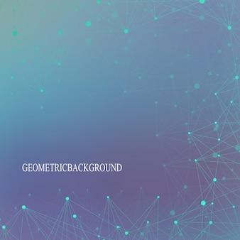 Futurystyczna technologia tła cząsteczki i komunikacji. połączone linie z kropkami. ilustracja wektorowa.