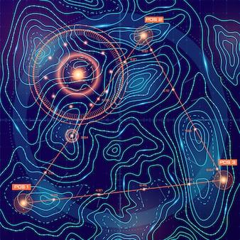 Futurystyczna topograficzna mapa konturowa