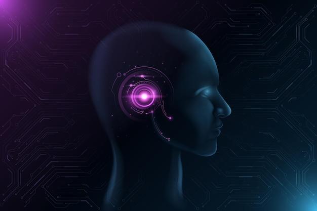Futurystyczna twarz ze świecącym interfejsem hud. koncepcja sztucznej inteligencji.
