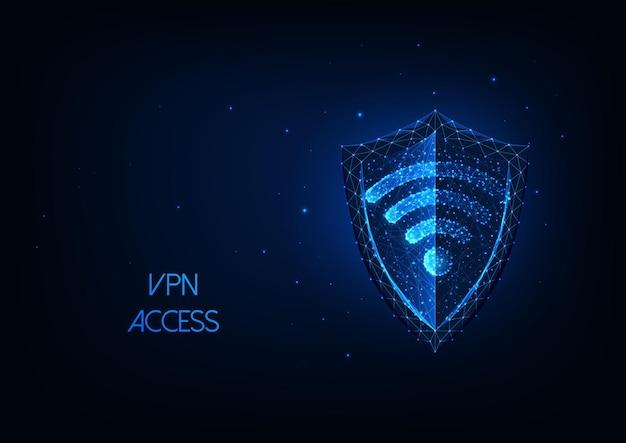Futurystyczna wirtualna sieć prywatna vpn ze świecącą niską wielokątną tarczą i symbolem wi-fi.