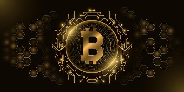 Futurystyczna Złota Waluta Cyfrowa Bitcoin. Premium Wektorów