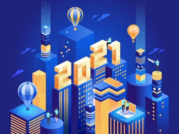 Futurystyczne abstrakcyjne miasto nowoczesnego biznesu z numerami. ludzie pracują zdalnie lub w biurze, na spotkaniach roboczych, w wieżowcach w centrum miasta. ilustracja postaci szczęśliwego nowego roku dla pracowników