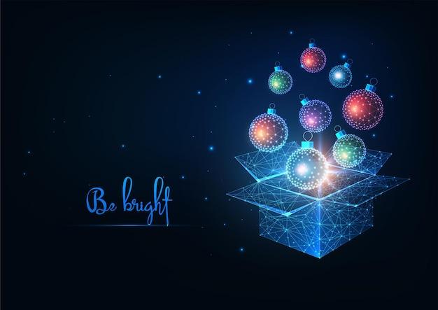 Futurystyczne boże narodzenie otwarte pudełko ze świecącymi niskimi wielokątnymi bombkami świątecznymi na wakacje na ciemnoniebieskim tle. nowoczesna konstrukcja siatki szkieletowej.