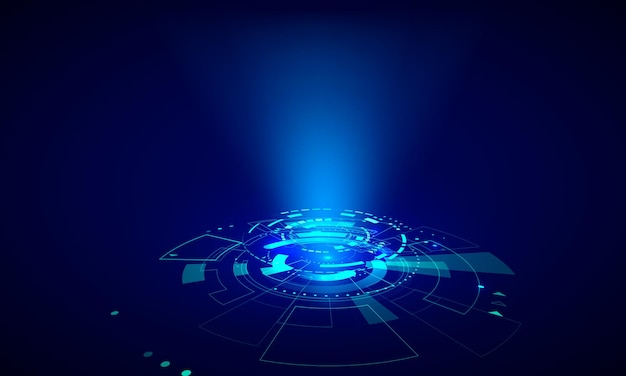 Futurystyczne elementy hud. streszczenie koło hi-tech. hologram ui elementy wirtualnej rzeczywistości. sci-fi futurystyczny interfejs użytkownika. ilustracja wektorowa